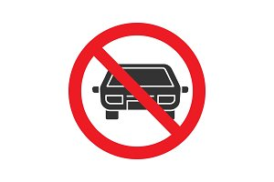 Forbidden sign with car glyph icon