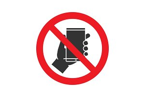 Forbidden sign with mobile phone glyph icon