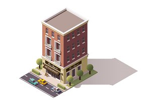 Vector isometric restaurant building