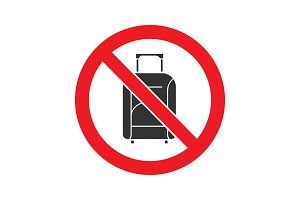 Forbidden sign with luggage glyph icon