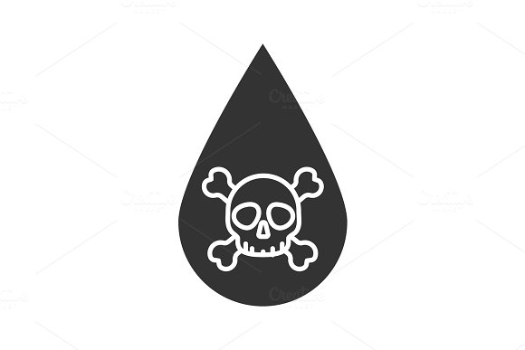 Liquid drop with skull and crossbones glyph icon
