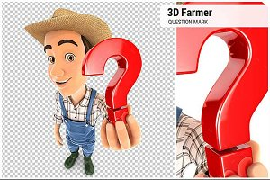 3D Farmer Holding a Question Mark