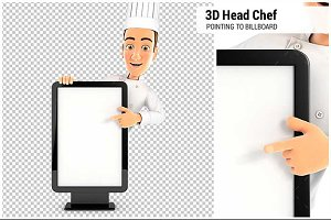 3D Head Chef Pointing to Billboard