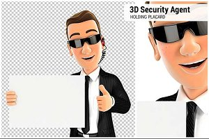 3D Security Agent Holding Placard