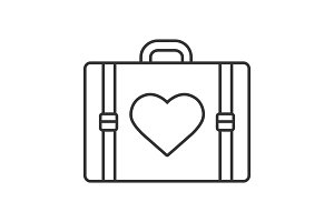 Travel luggage suitcase with heart shape linear icon