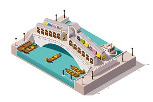 Vector isometric Rialto bridge