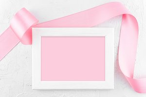 Wooden frame and ribbon