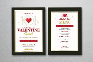 Valentines Day Dinner Flyer & Menu