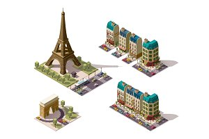 Vector isometric Paris architecture elements