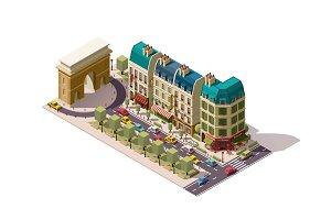 Vector isometric Paris street