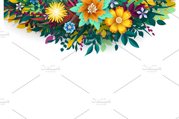 Vector Flower. Floral colorful branches with buds on white background.