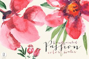 Aquarelle watercolor red flowers