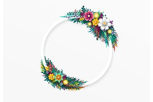 Flower round frame, isolated on white background.