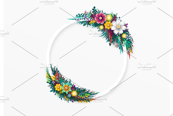 Flower round frame, isolated on white background.