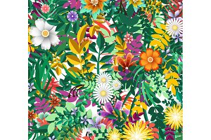 Flower pattern. Floral colorful background, vector illustration.