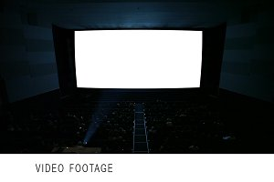 White cinema screen with projector