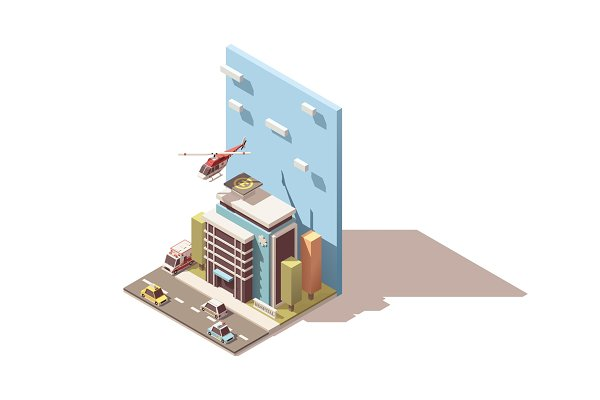 Vector isometric hospital with ambu…