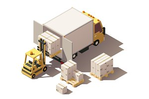 Vector isometric forklift loading box truck with crates on pallets icon