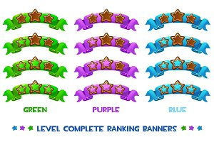 Vector Level complete ranking banners with wood stars on colored ribbon