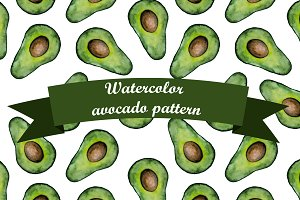 Watercolor avocado pattern