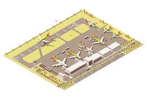 Vector isometric low poly airport terminal building with control tower, landing jet, airplanes at apron and Ground Support vehicles working