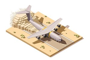 Vector isometric low poly desert airstrip with humanitarian or military cargo airplane landing on dusty runway