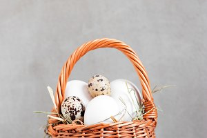 Small basket with eggs