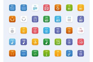 Vector file types icon set