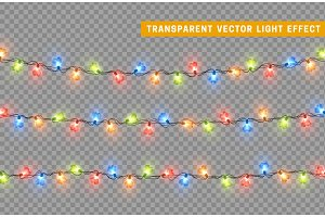 Decorations string garlands, colorful lights in shape of heart isolated realistic design elements.