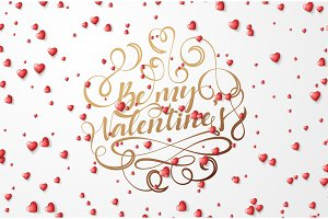 Be my Valentines lettering greeting card.