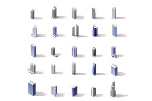 Vector isometric skyscrapers set