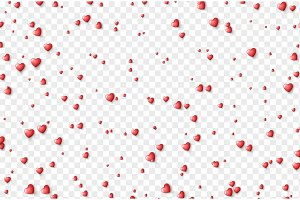 Hearts red on transparent background. Valentine's day