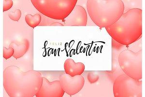 Happy valentines day. Phrase Spanish handmade. Feliz San Valentin.