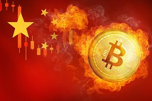 Golden bitcoin coin on China flag in fire is falling.