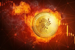 Golden IOTA coin falling in fire flame.