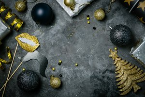 Christmas party invitation - silver, gold and black decorations