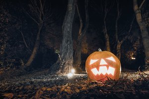 Scary pumpkin in the forest
