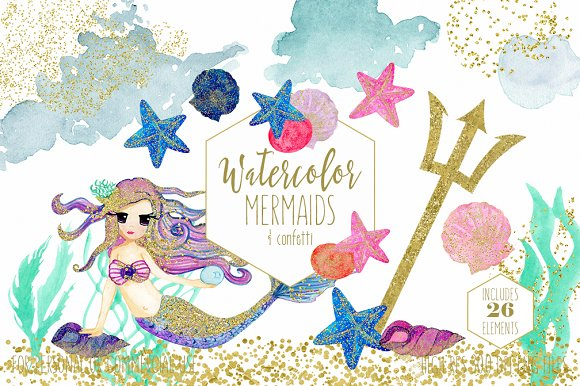 Watercolor Mermaid Ocean Graphics