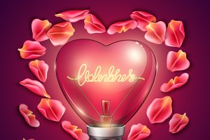 Vector realistic heart light bulb