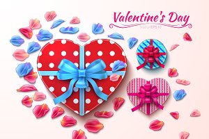 Vector realistic heart gift boxes