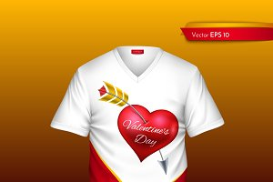 Vector realistic t-shirt heart