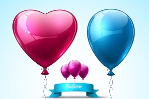 Vector realistic balloons heart