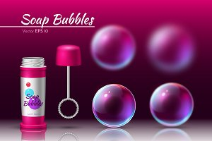Vector realistic soap bubble