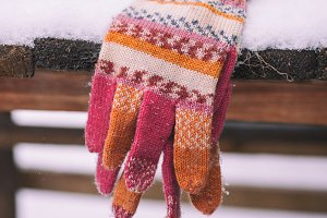 knitted multicolored mittens