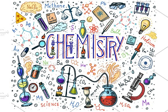 Chemistry of icons set. Chalkboard with elements, formulas, atom, test-tube and laboratory equipment. laboratory workspace and reactions research. science, education, medical. engraved hand drawn.