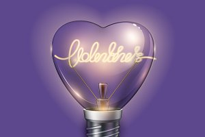 Vector realistic light bulb heart