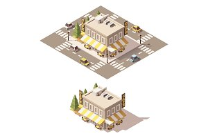 Vector isometric low poly cafe
