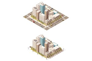 Vector isometric low poly city downtown