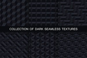 Black geometric seamless 3d textures