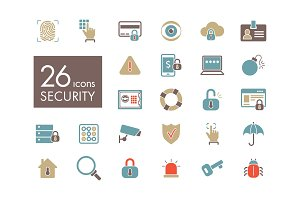 Security outline web icon set
